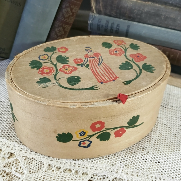 Vintage Bentwood & Paper Dusting Powder Box Early American Old Spice for Women